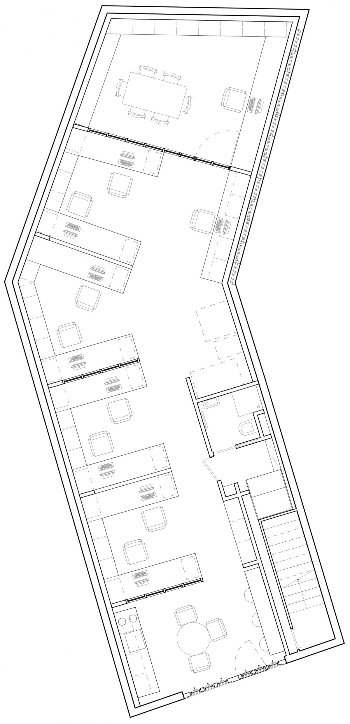Transformation d'un garage automobile en bureaux : Plan