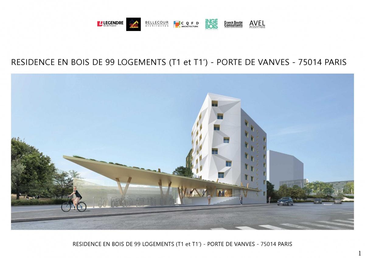 Conception et réalisation d'un immeuble de 99 logements en structure bois. Paris 14e