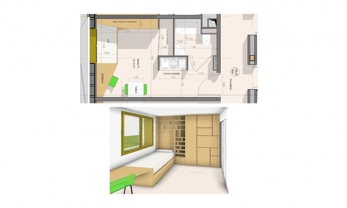 Conception et réalisation d'un immeuble de 99 logements en structure bois. Paris 14e : Agencement studio