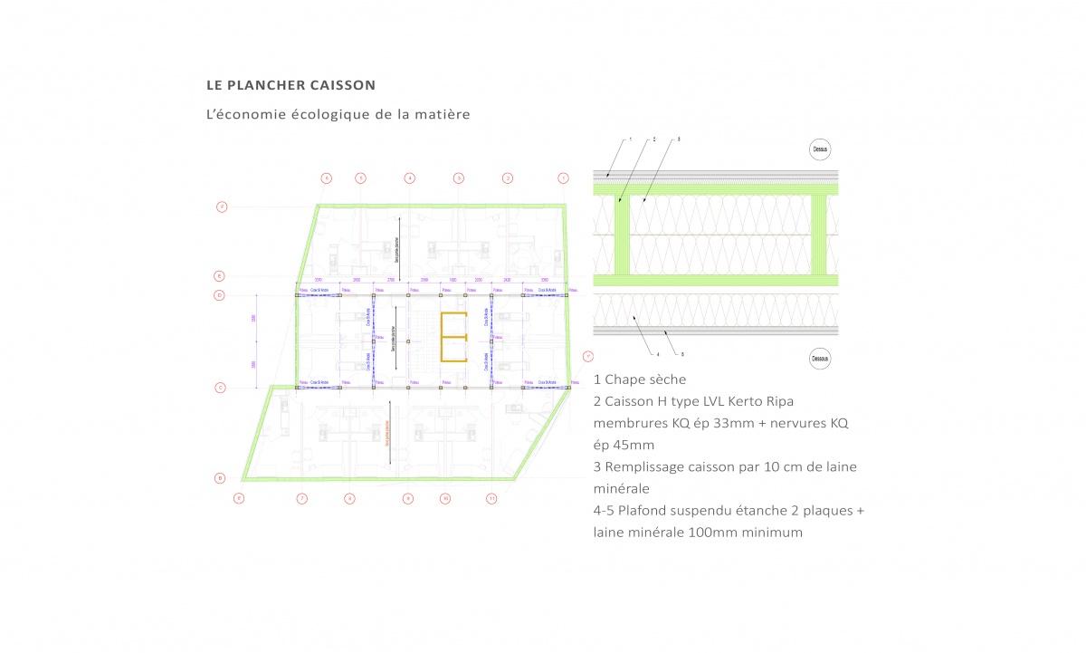 Conception et réalisation d'un immeuble de 99 logements en structure bois. Paris 14e : Composition plancher