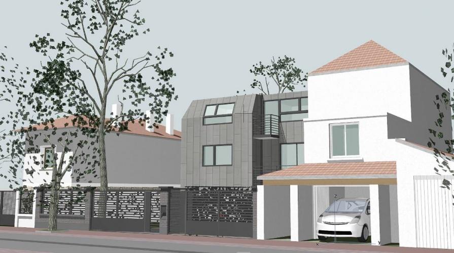 Maisons contemporaines à Créteil : façade rue