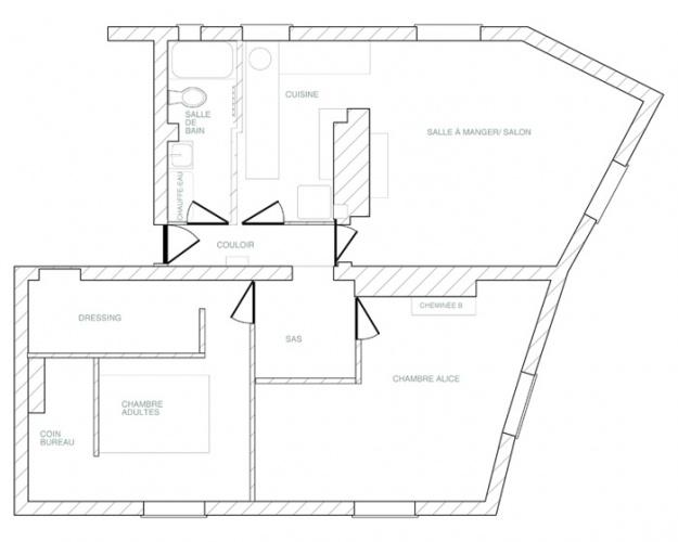 Rénovation et réorganisation d'un appartement classique : plan avant