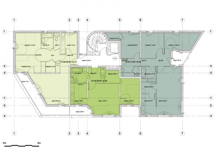 Reconstruction de la Cité Double Couronne : plan de l'étage courant