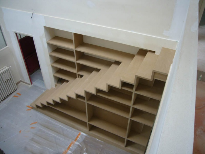Architectes escalier biblioth que dans appartement paris 17 - Bibliotheque garde corps ...