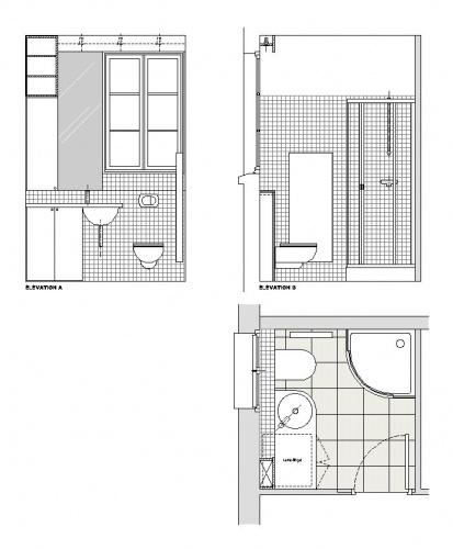 Plans de salle de bain un meuble contemporain blanc avec - Plans salle de bain ...