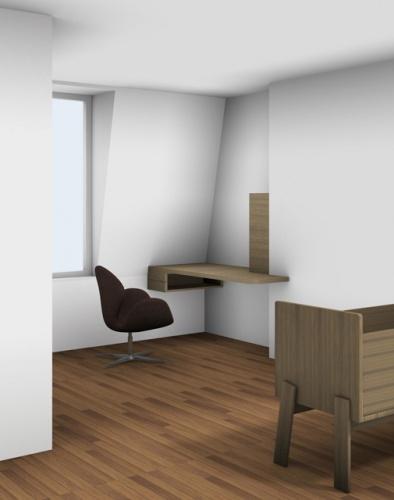 Aménagement des chambres à l'étage d'un duplex : projet 3D