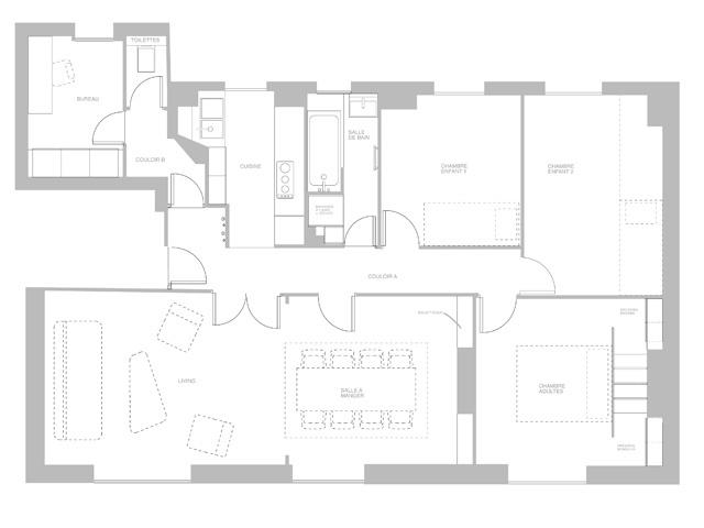 Rénovation d'un appartement classique : plan projet