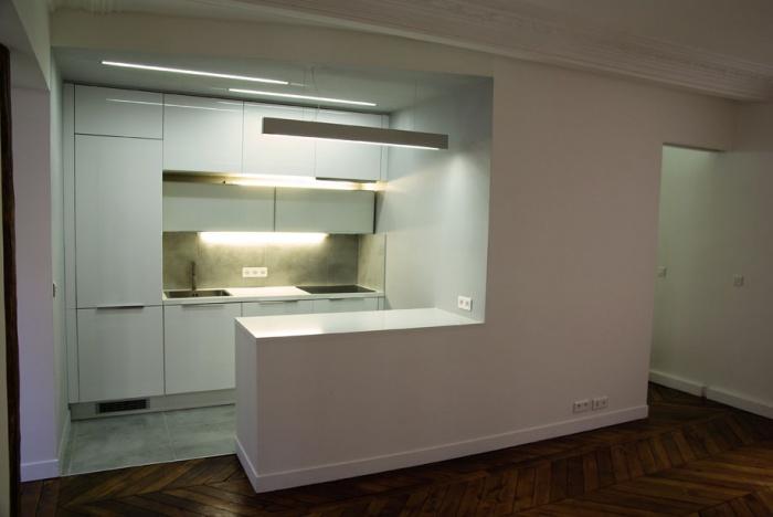 Rehabilitation appartement : vue sur la cuisine