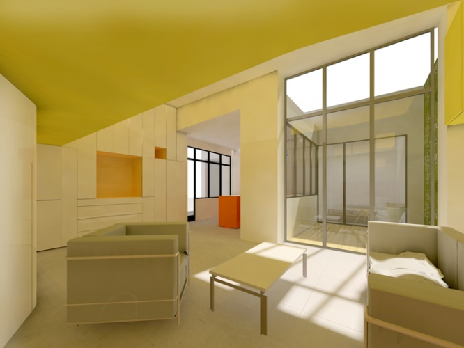 appartement en rez de chauss e paris une r alisation de antonini darmon. Black Bedroom Furniture Sets. Home Design Ideas