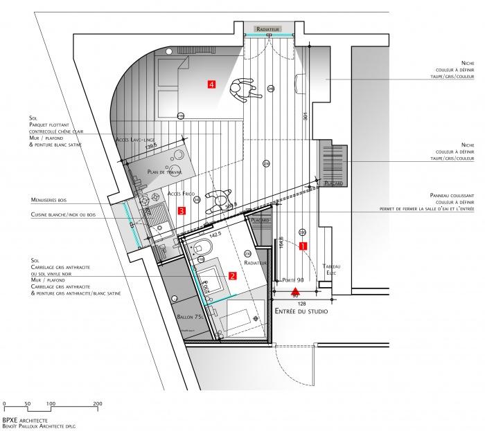 Architectes studio paris paris - Plan amenagement studio 25m2 ...