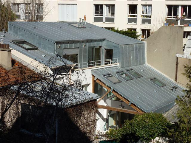 Surélévation d'une maison de ville, Paris XXe