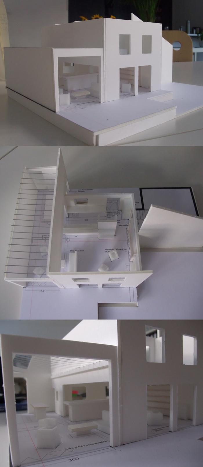 Extension + réhabilitation partielle d'une maison individuelle : maquettes