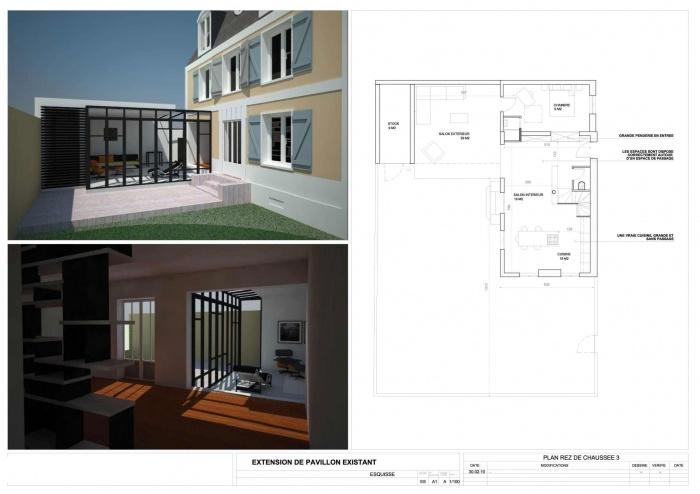 Extension et rénovation Bois Colombes : A7-RDC3