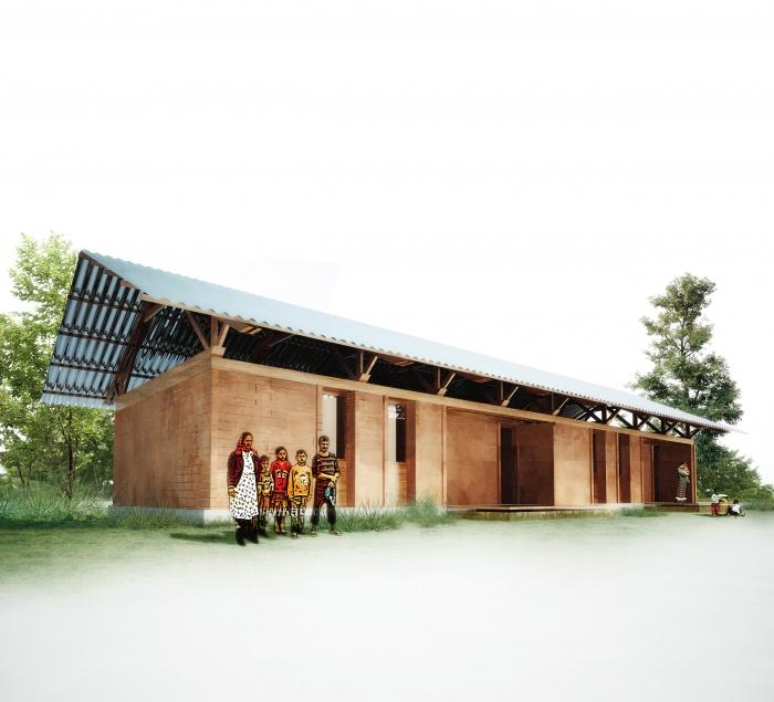 9 logements sociaux et équipements en terre et bois à  Sîncel (Roumanie)