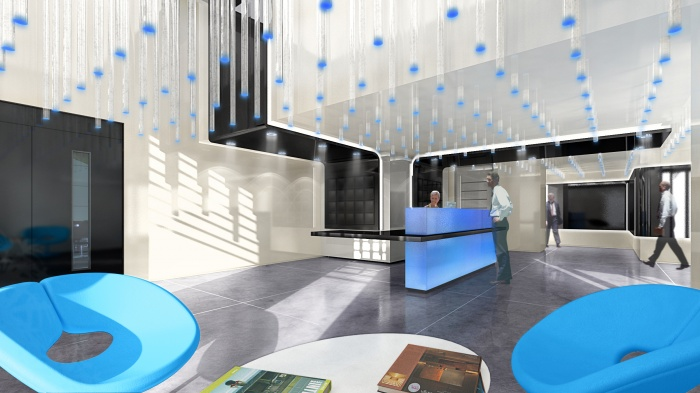 CRCI- Chambre Régionale de Commerce et d'Industrie  Rhône-Alpes-Aménagement du nouveau siège à la Confluence. : image projet du hall avant réalisation