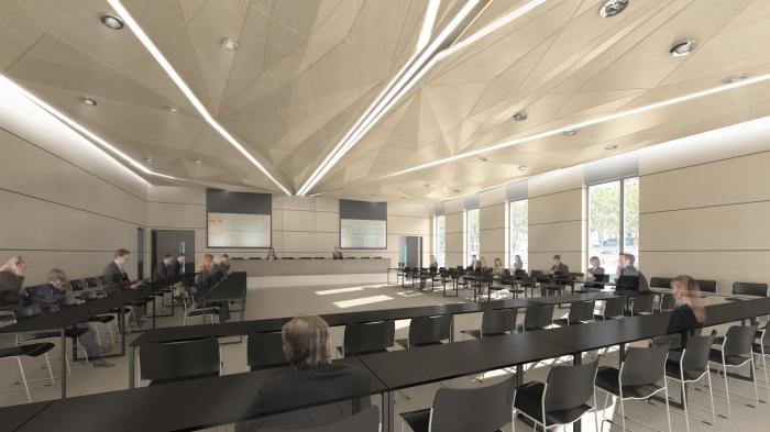 CRCI- Chambre Régionale de Commerce et d'Industrie  Rhône-Alpes-Aménagement du nouveau siège à la Confluence. : Salle de Conférence-Configuration Assemblée_