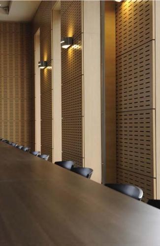 CRCI- Chambre Régionale de Commerce et d'Industrie  Rhône-Alpes-Aménagement du nouveau siège à la Confluence. : Vue partielle habillage salle d'Assemblée