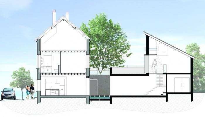 Réhabilitation et extension d'une habitation : Domont_coupe