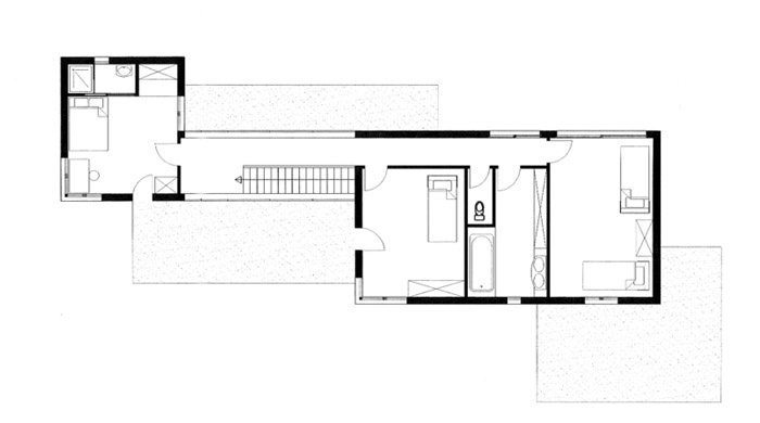 Maison contemporaine GMT (77) : Plan du 1er étage.