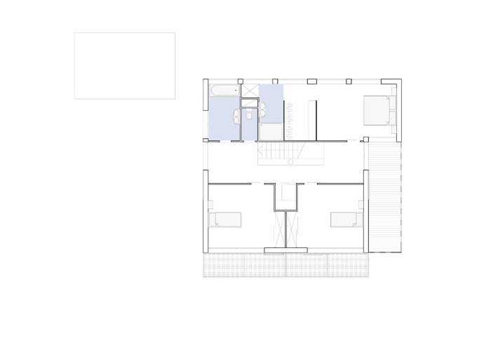 Maison contemporaine à Chanteloup (77) : Plan d'étage.