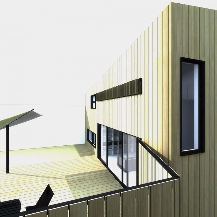 Maison en bois à Montlignon (95) : terrasse