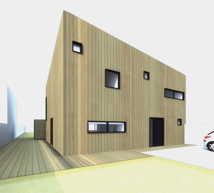 Maison en bois à Montlignon (95) : vue depuis la rue