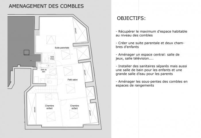 Restructuration + Aménagement des combles : Présentation AP combles