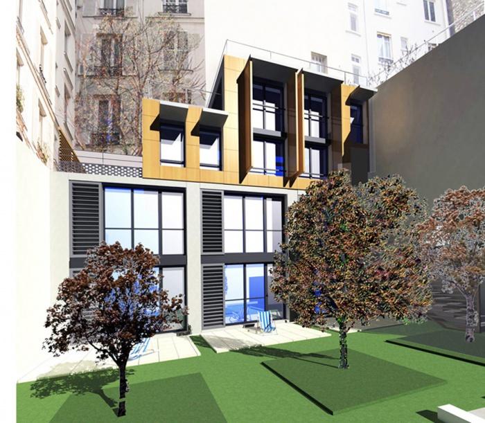Trois maisons de ville, duplex et studio : perspective