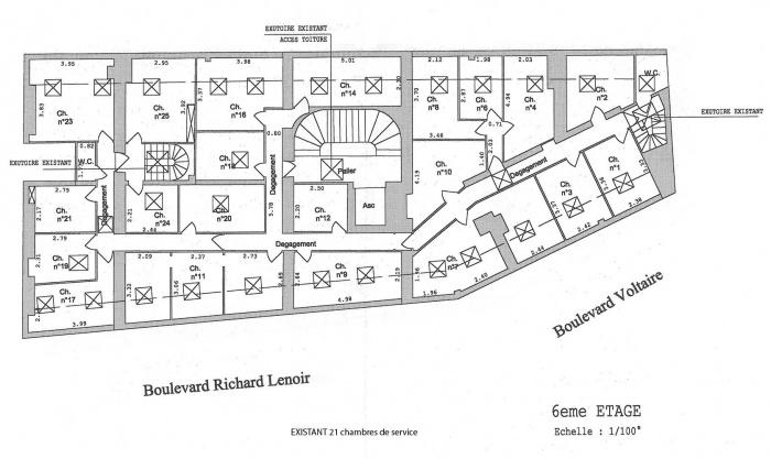 Loft bd Voltaire 75011 : plan existant