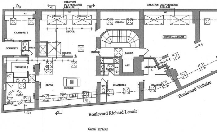 Loft bd Voltaire 75011 : plan projeté