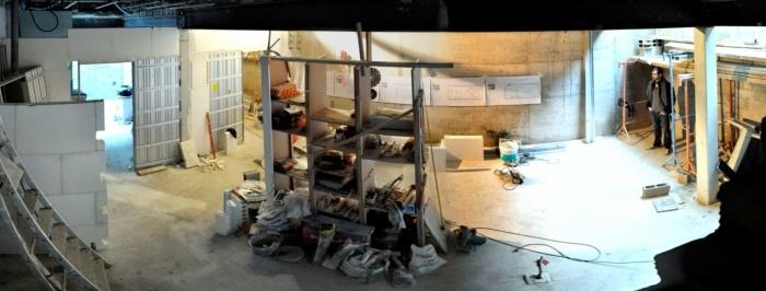 Excavation souplex F : Panoramique du salon en chantier  01