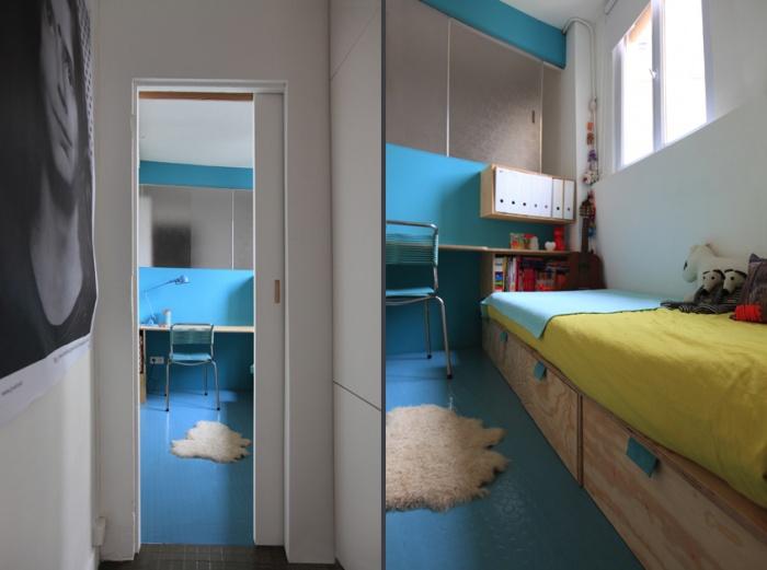 Architectes am nagement d 39 un appartement de 55m2 pour 4 perso - Amenager une chambre en longueur ...