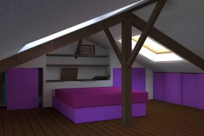 Aménagement de combles dans un immeuble d'habitation : Simulation 3D