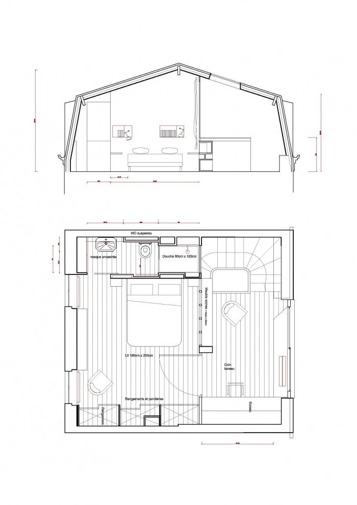 surélévation pavillon / MAISON R : PPil Coupe et plan du projet