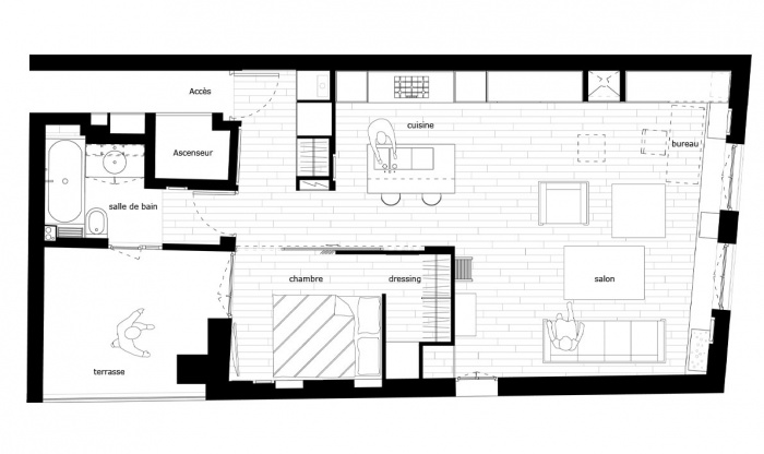 Appartement Saint-Merri : plan