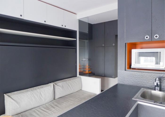 Studio de 15m² à Bastille pour location saisonnière : depuis la cuisine