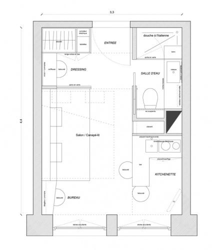 Studio de 15m² à Bastille pour location saisonnière : plan