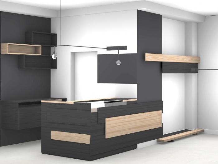 Aménagement intérieur d'une boutique de mode : 3D vue partiel2