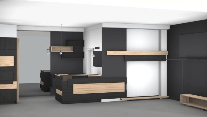 Aménagement intérieur d'une boutique de mode : 3D vue partiel3