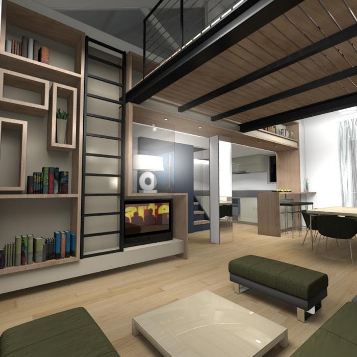 Réhabilitation Appartement + Combles : Vue salon 2