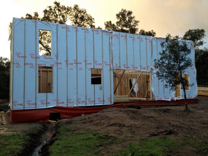 Maison écoresponsable ossature bois_Corse : chantier_façade nord