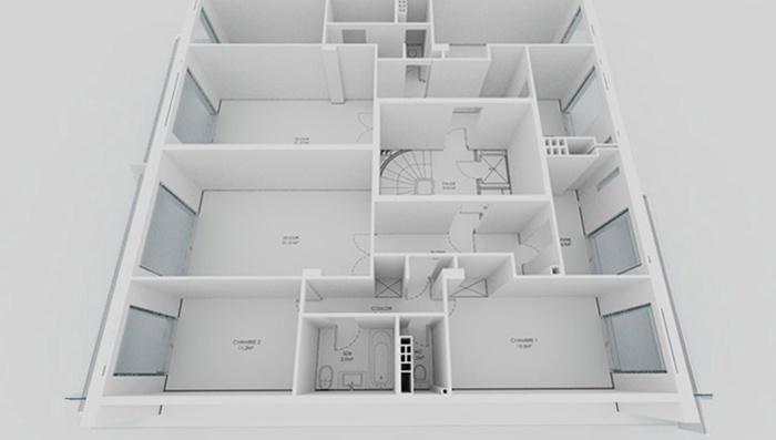 Appartement familial + Studio en annexe : Maquette AVANT