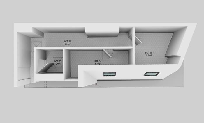 Duplex sous les toits à Montmartre : Maquette 6e AVANT