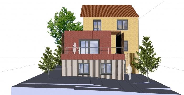 Extension et réhabilitation d'une maison individuelle : Façade arrière-Sud Ouest projet-ind 02 C