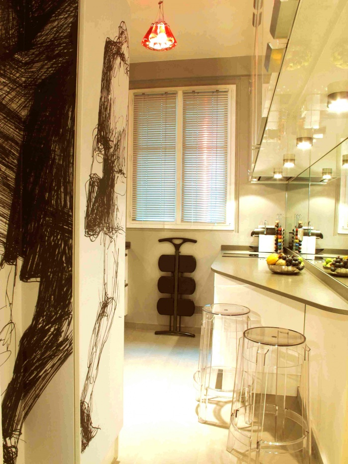 une cuisine parisienne paris une r alisation de fabien marchand. Black Bedroom Furniture Sets. Home Design Ideas