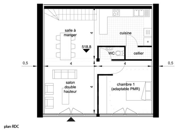 Le Guépard – conception d'une maison familiale : le-guepard-conception-maison-corse-architecture-interieur-plan-rdc