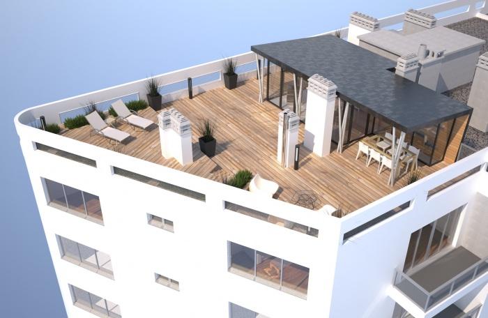 architectes am nagement d 39 un toit terrasse avec sur l vation ossature bois. Black Bedroom Furniture Sets. Home Design Ideas