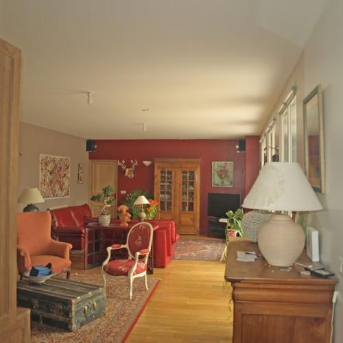 Extension Hybride Béton-Bois : intérieur salon