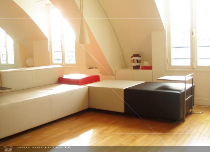 RENOVATION PARTIELLE D'UN APPARTEMENT DE 125m2 ET DECORATION : sofa