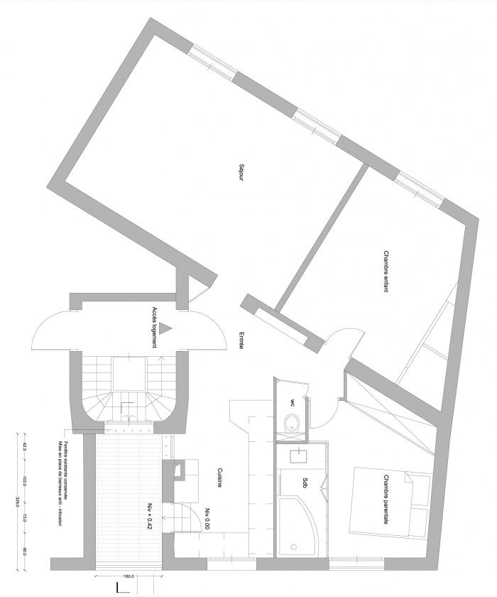 Réaménagement d'un appartement et création d'une terrasse : PLAN PROJETE